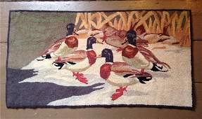 Ducks Hooked Rug 1930s