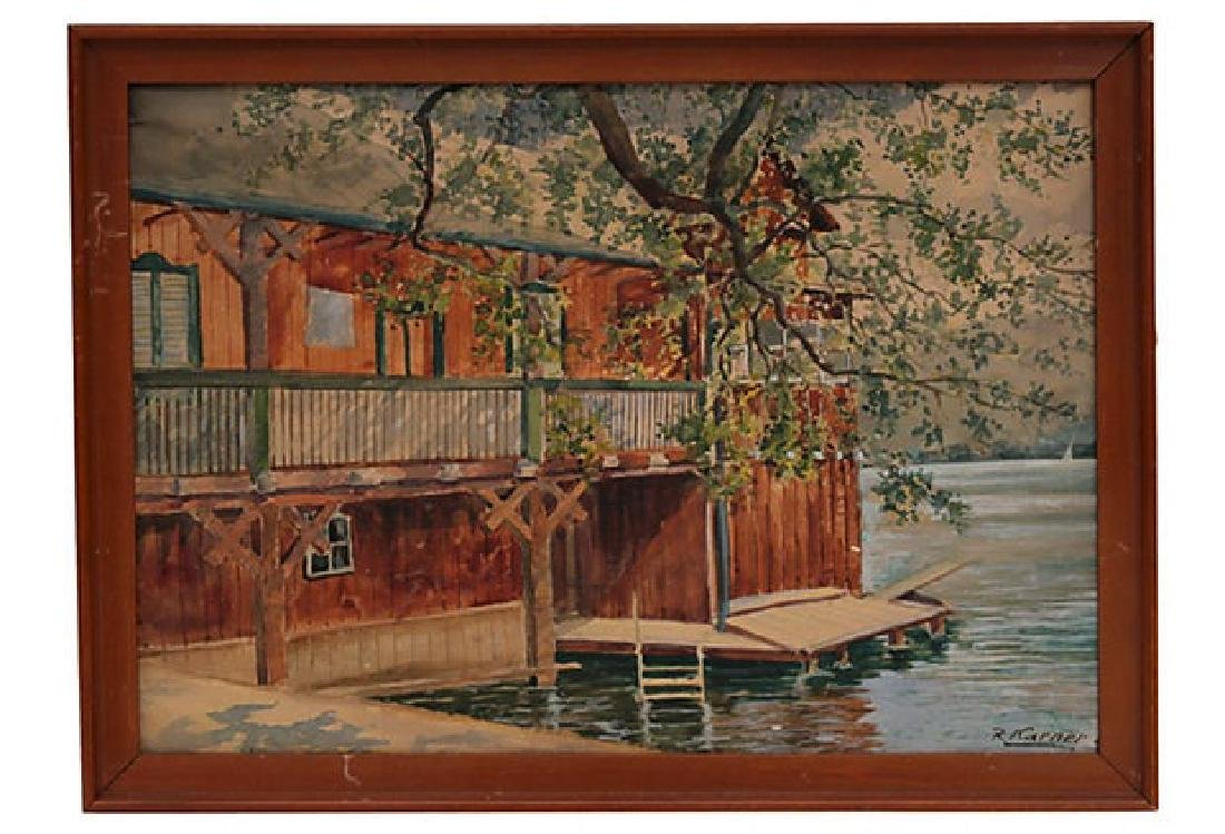 Vintage Boat House Watercolor