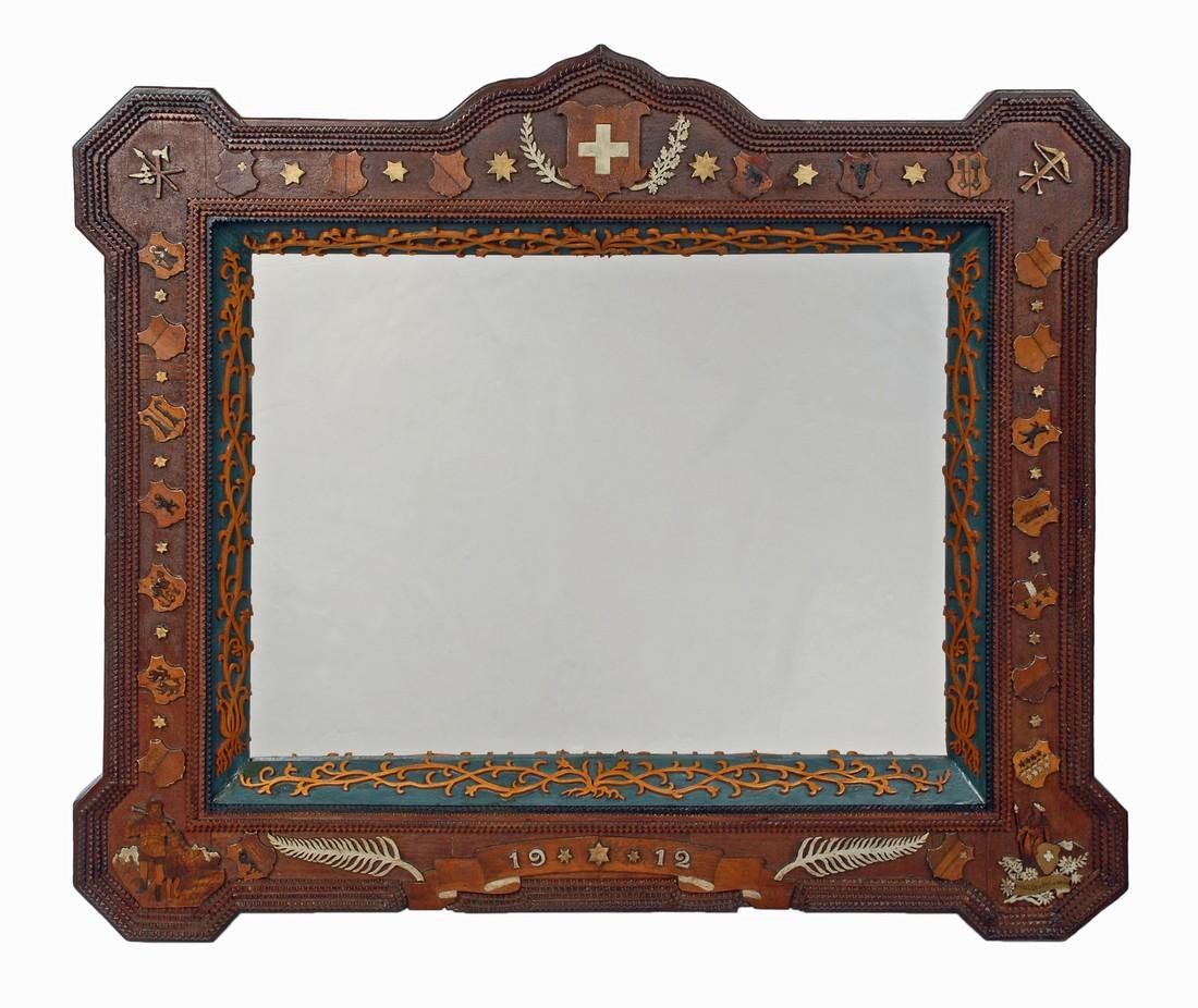 Dated 1912 Tramp Art Mirror with Figural Carvings