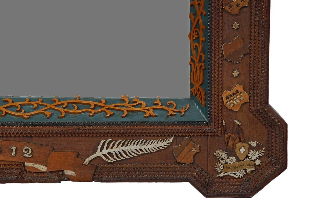 Dated 1912 Tramp Art Mirror with Figural Carvings - 4