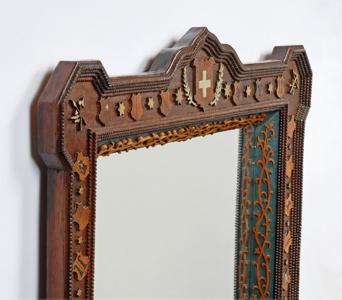 Dated 1912 Tramp Art Mirror with Figural Carvings - 6