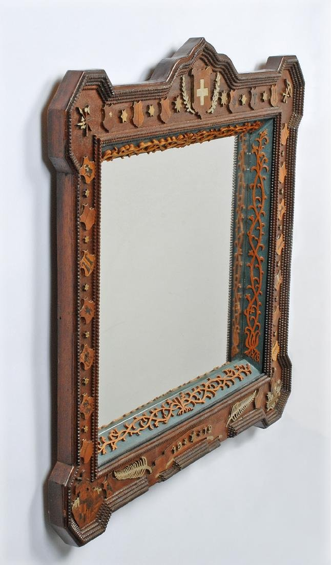 Dated 1912 Tramp Art Mirror with Figural Carvings - 7