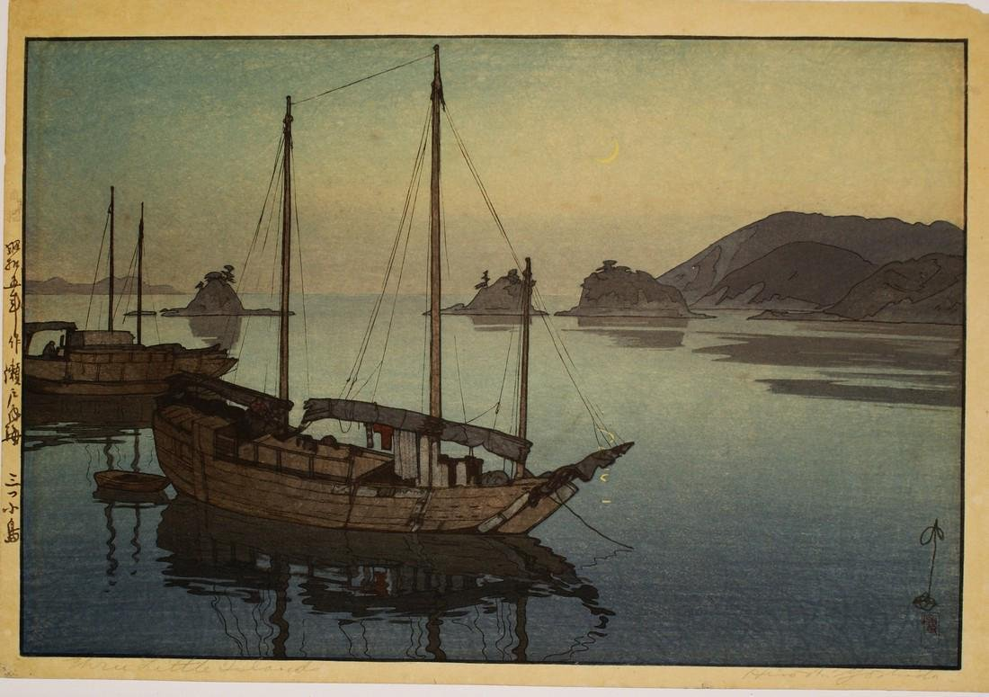Hiroshi Yoshida Woodblock Three Little Islands
