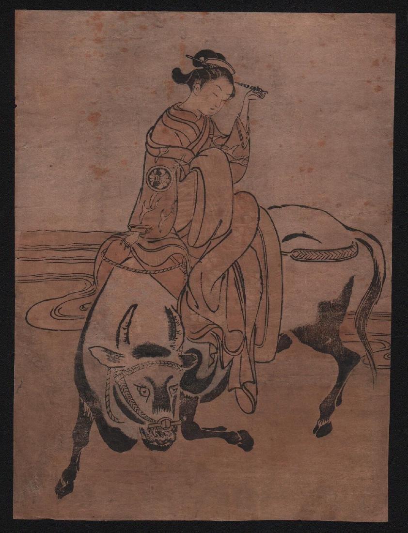 Isoda Koryusai Woodblock Beauty and the Ox
