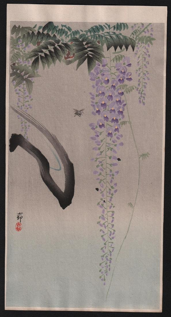 Ohara Koson Woodblock Bumble-bee & Wisteria