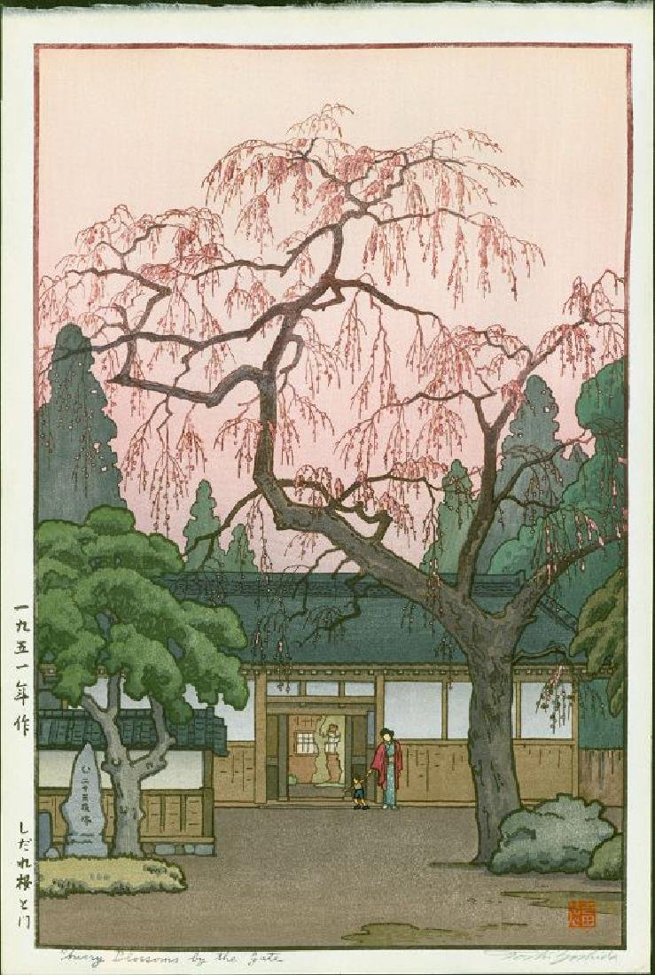 Toshi Yoshida Woodblock Cherry Blossoms by the Gate
