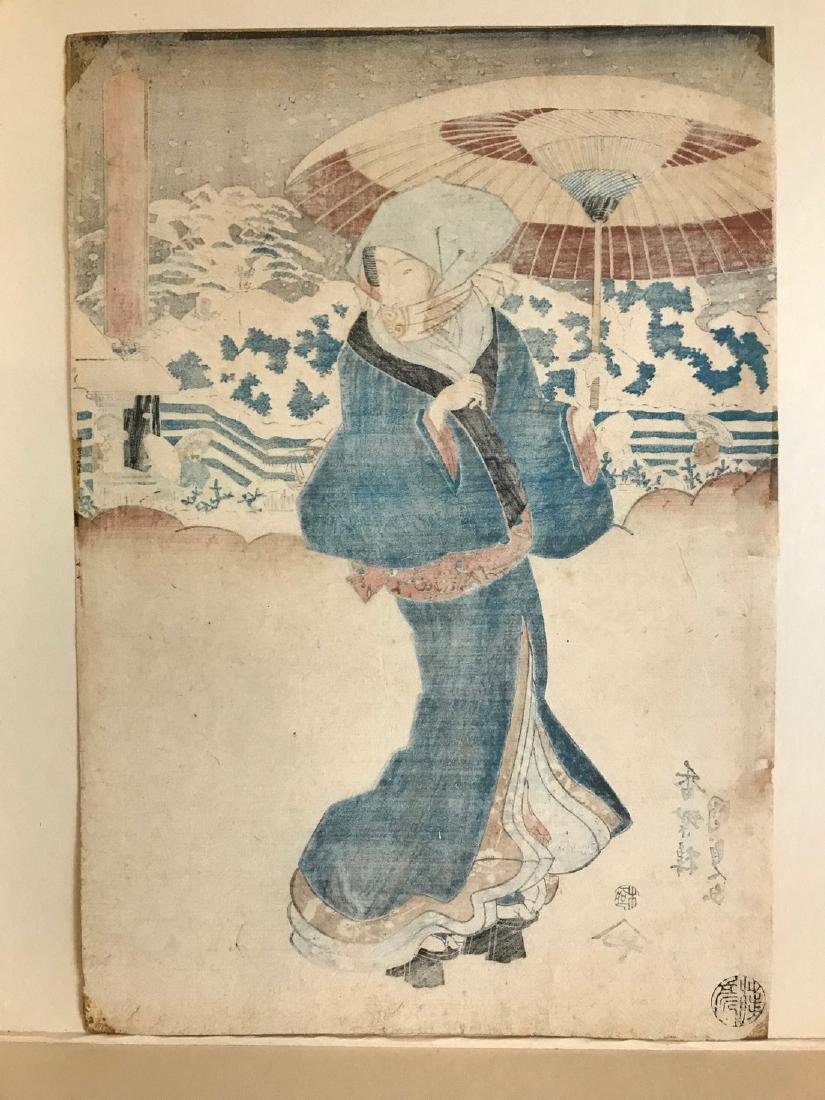Utagawa Kunisada Woodblock Beauty in the Snow - 4