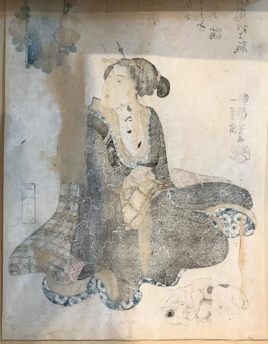 Utagawa Kuniyoshi Woodblock Beauty with Cats - 2