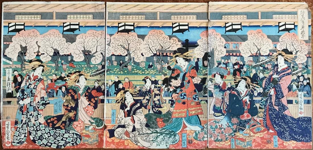 Yoshitora Woodblock Triptych Cherry Blossoms in Spring