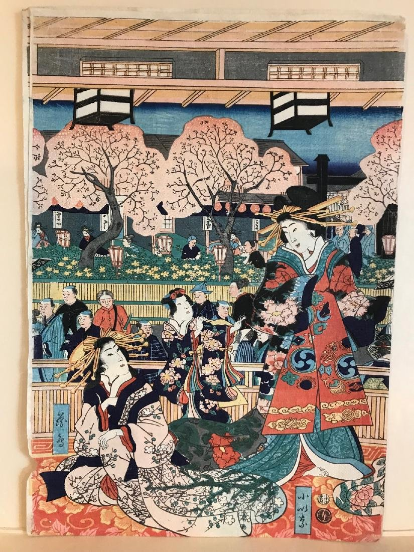 Yoshitora Woodblock Triptych Cherry Blossoms in Spring - 4