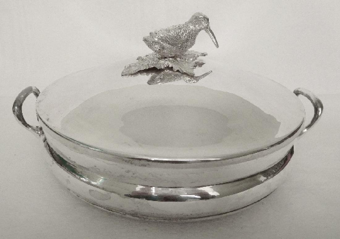 Silver plated vegetable dish, woodcock-shaped handle,