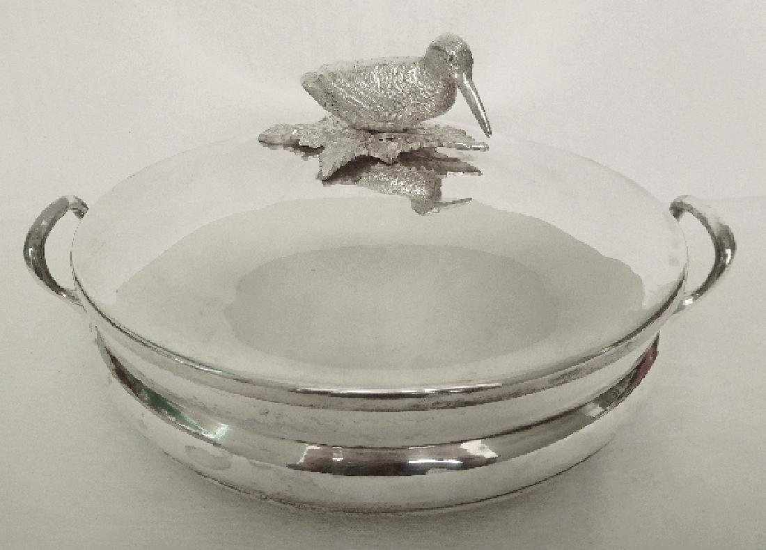 Silver plated vegetable dish, woodcock-shaped handle, - 2