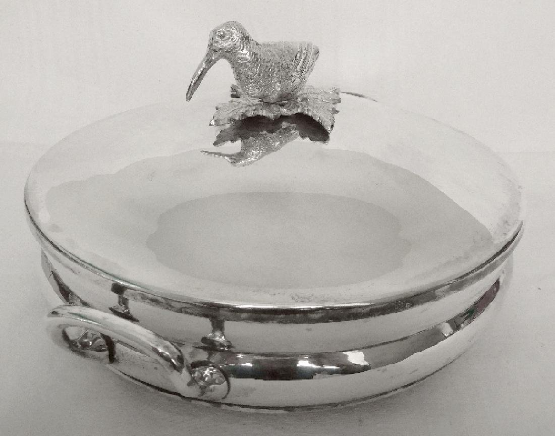 Silver plated vegetable dish, woodcock-shaped handle, - 4