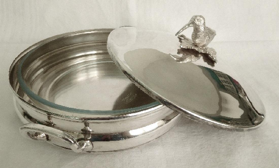 Silver plated vegetable dish, woodcock-shaped handle, - 5