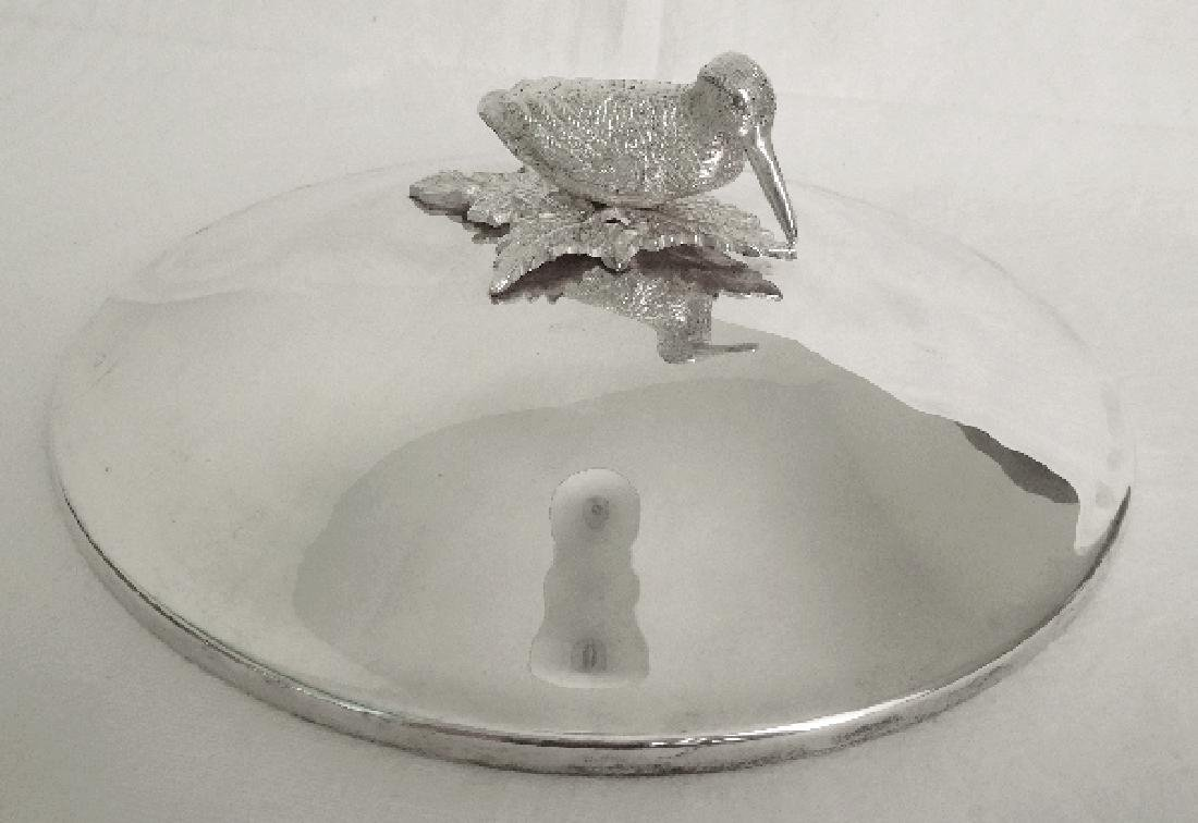 Silver plated vegetable dish, woodcock-shaped handle, - 8