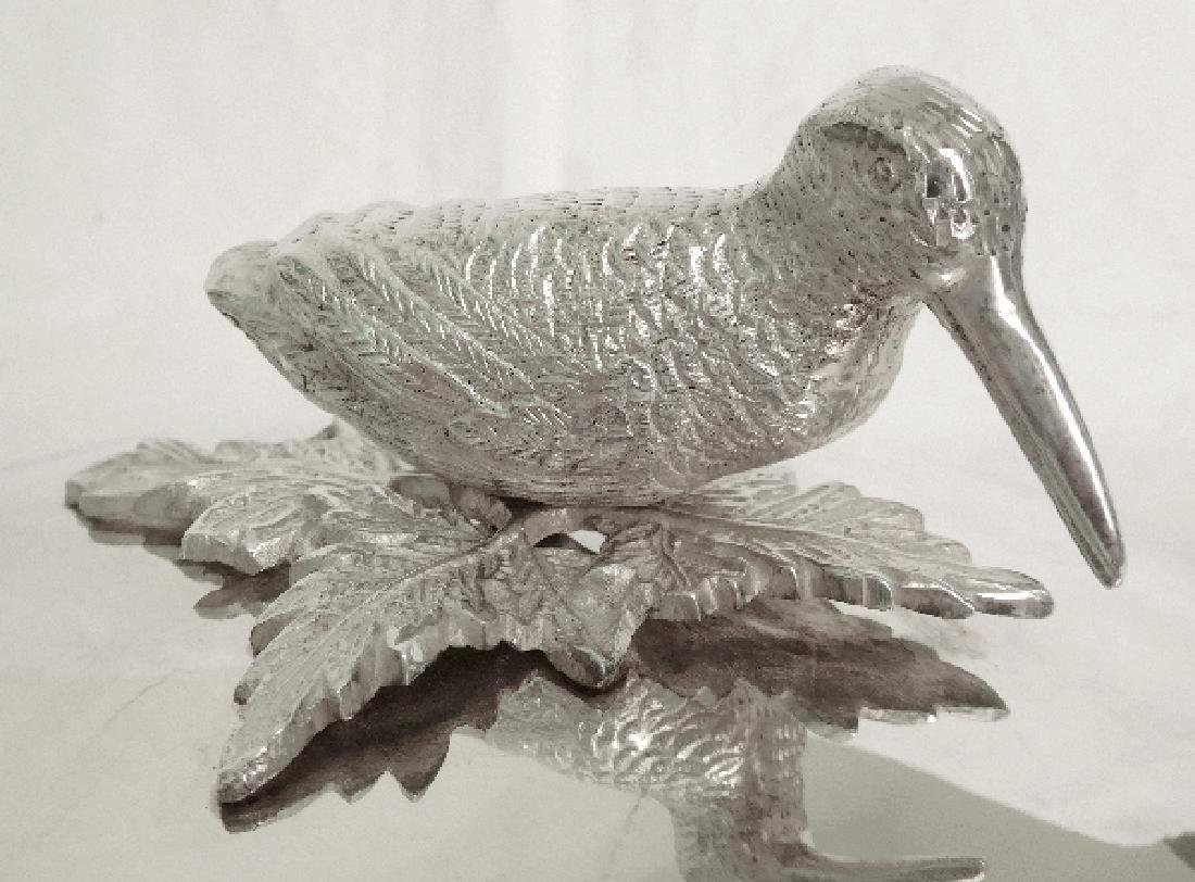 Silver plated vegetable dish, woodcock-shaped handle, - 9