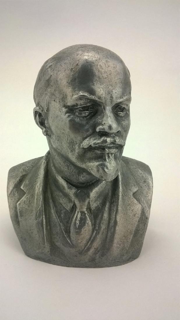 Old sculpture Statue V I Lenin Metal