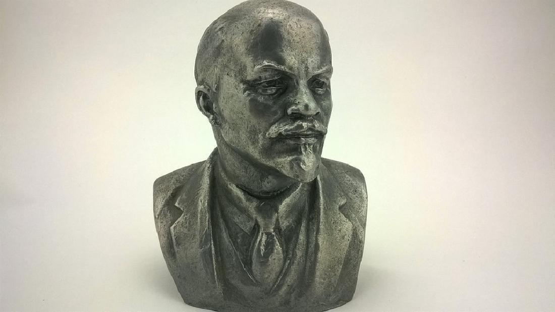 Old sculpture Statue V I Lenin Metal - 2