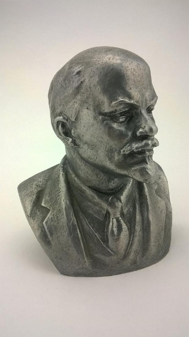 Old sculpture Statue V I Lenin Metal - 3