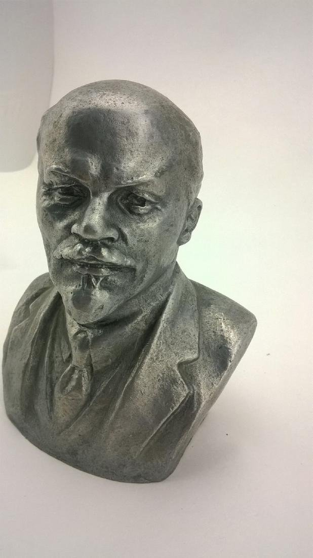 Old sculpture Statue V I Lenin Metal - 4