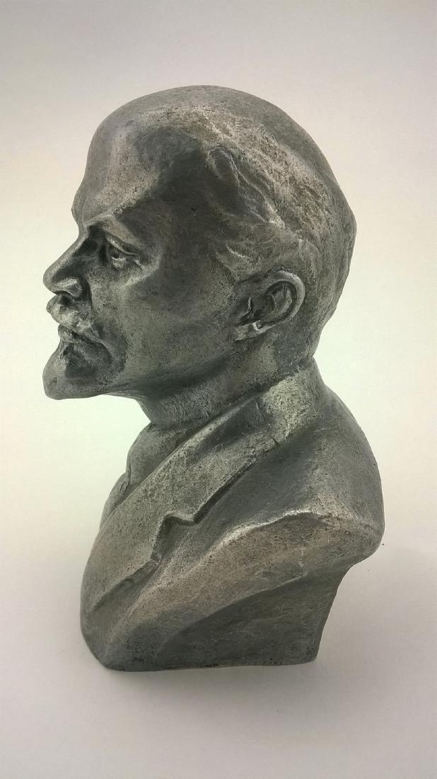 Old sculpture Statue V I Lenin Metal - 5