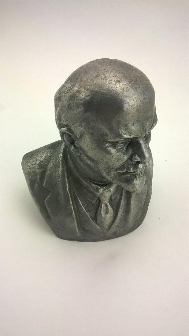 Old sculpture Statue V I Lenin Metal - 8