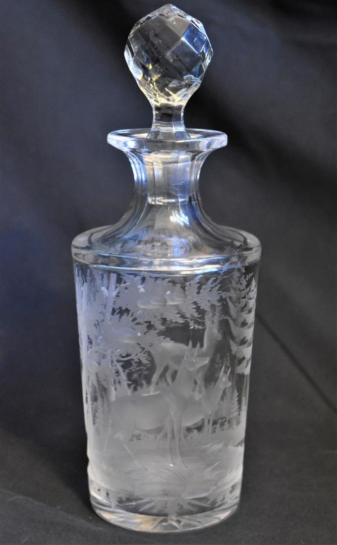 Antique Bohemian Glass Deeply Engraved Decanter Deer in