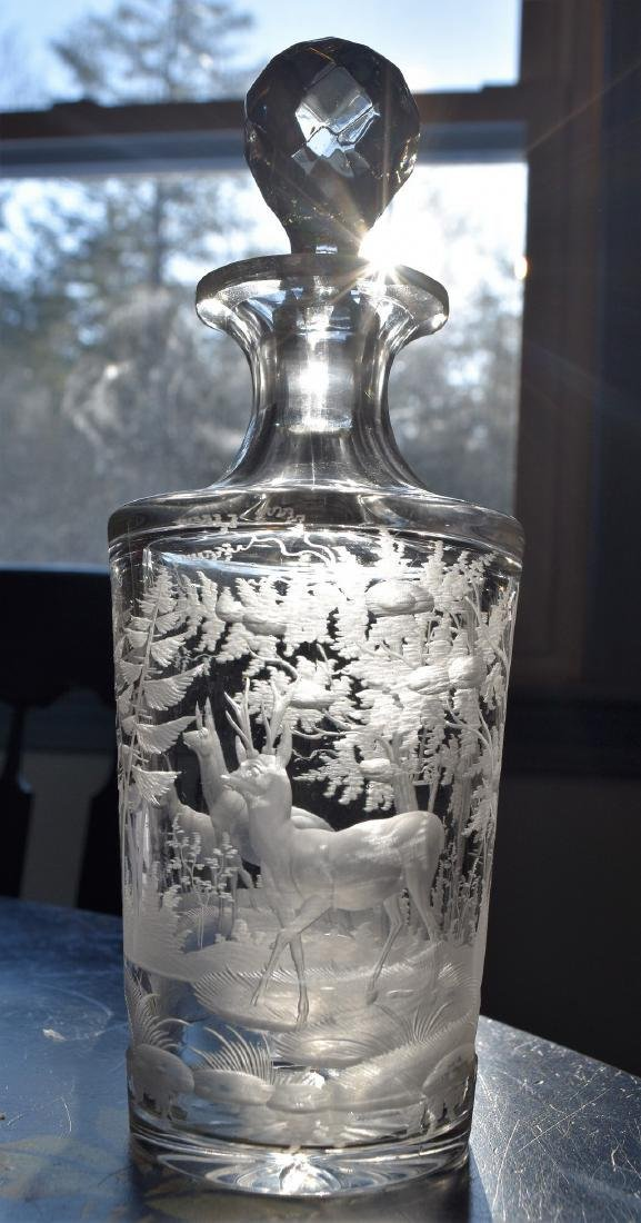 Antique Bohemian Glass Deeply Engraved Decanter Deer in - 4