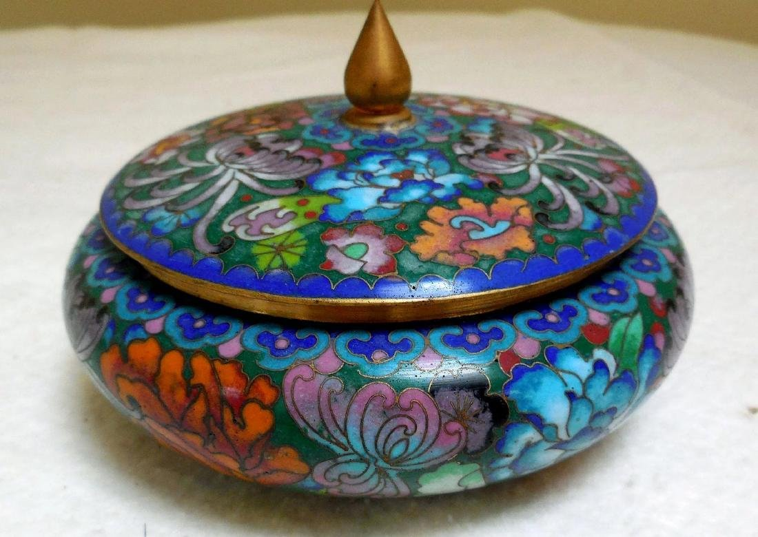Lady's Cloisonne Powder Box - 4