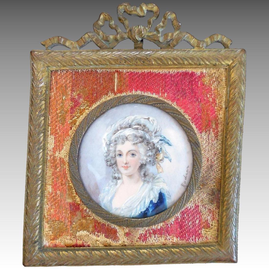 Antique Miniature Portrait, French, 18th/19th Century