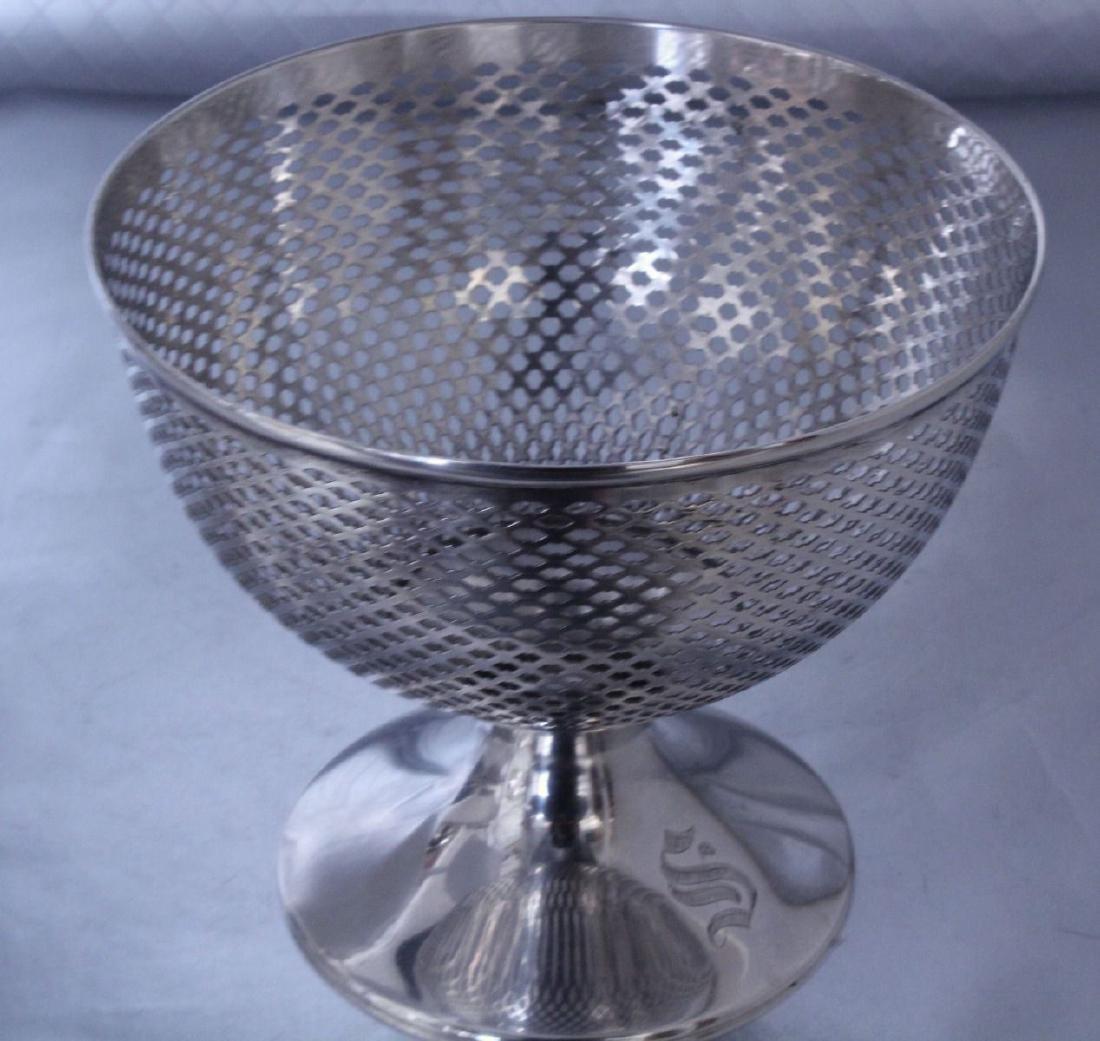 nternational Silver Footed Bowl Wheel Cut Glass Bowl - 6
