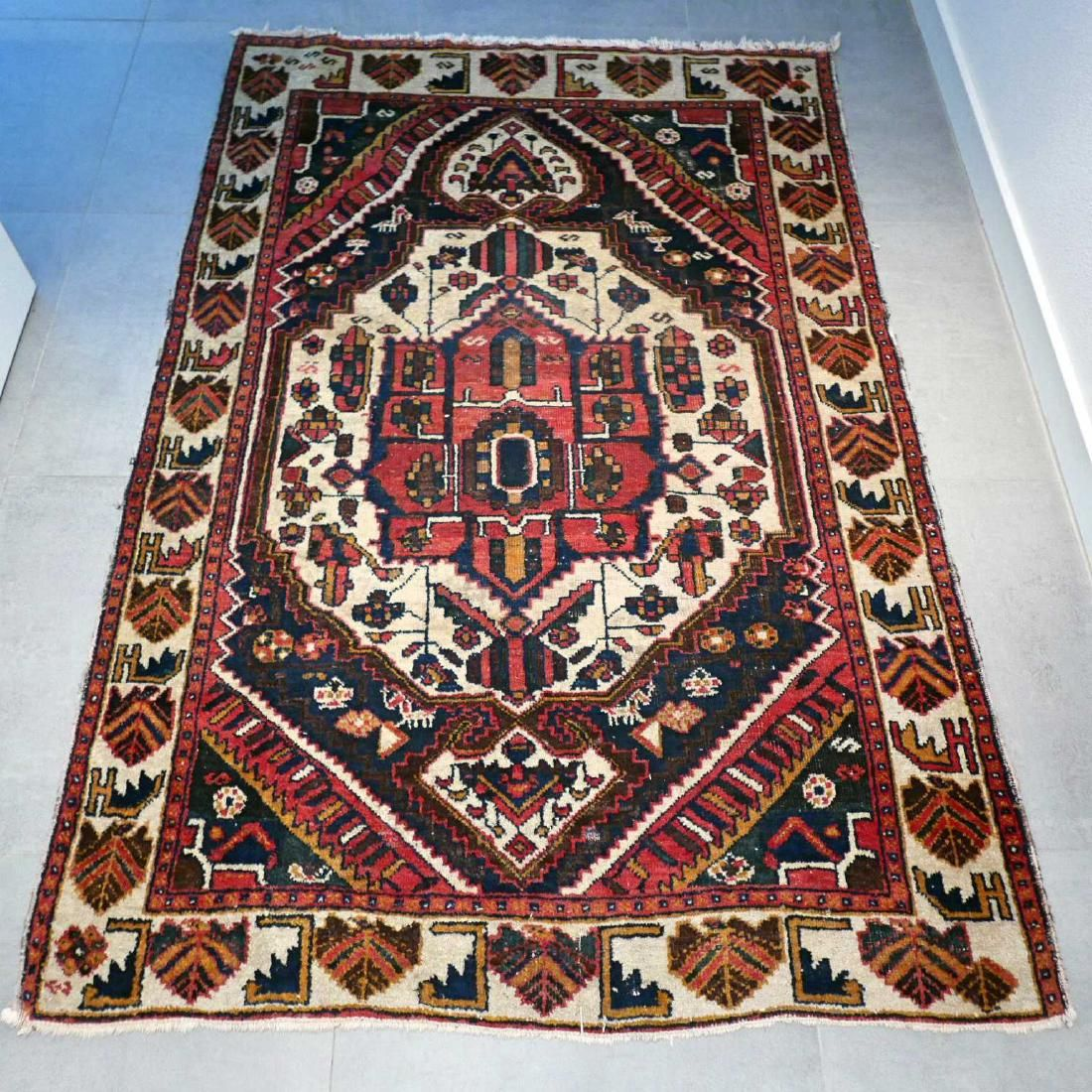 Antique Persian Bakhtiar Wool Hand Knotted Rug 6.3x4.2