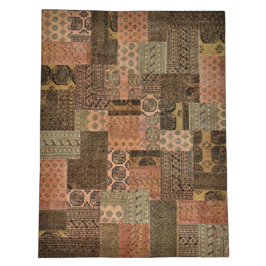 Pure Wool Afghan Patchwork Hand Knotted Rug 9x12