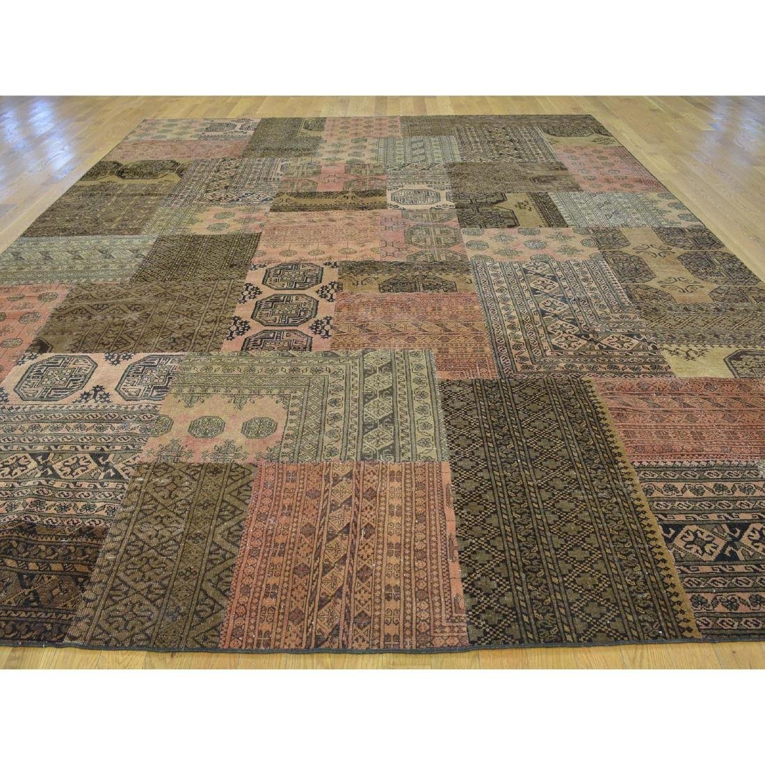 Pure Wool Afghan Patchwork Hand Knotted Rug 9x12 - 2