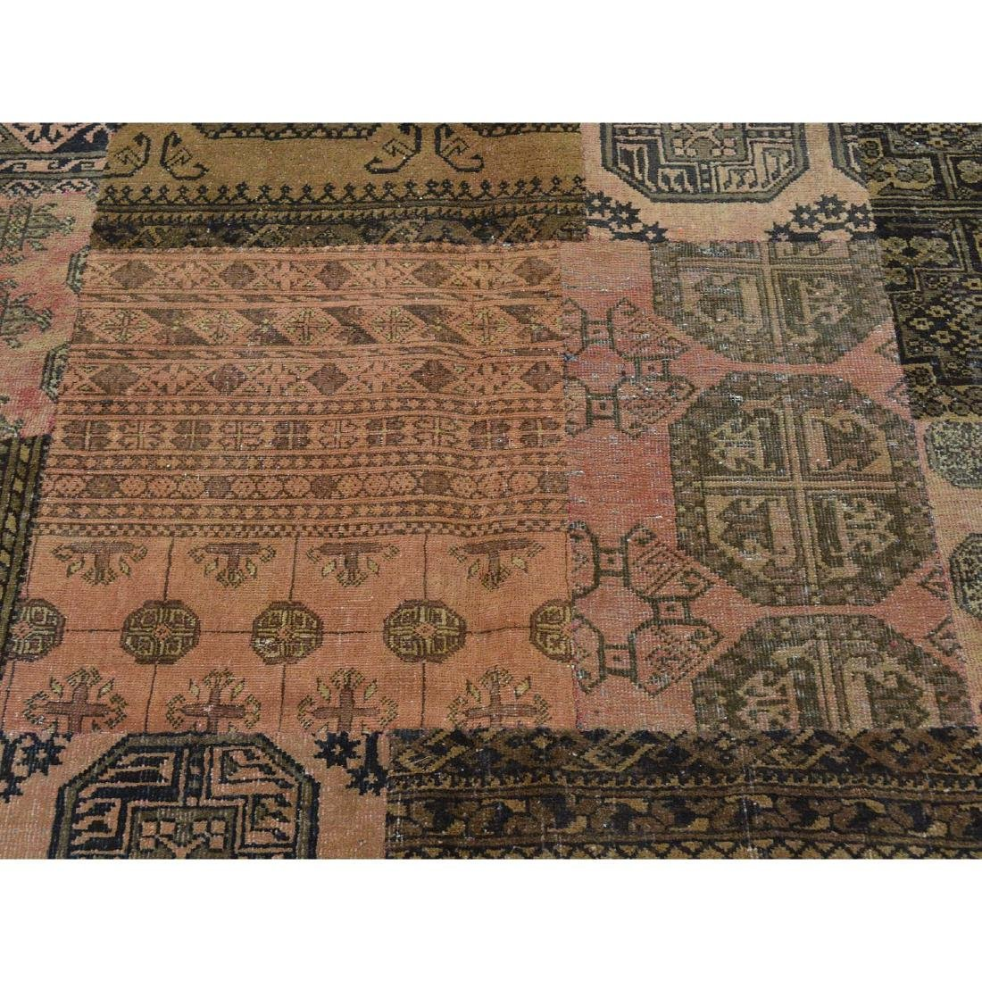 Pure Wool Afghan Patchwork Hand Knotted Rug 9x12 - 4
