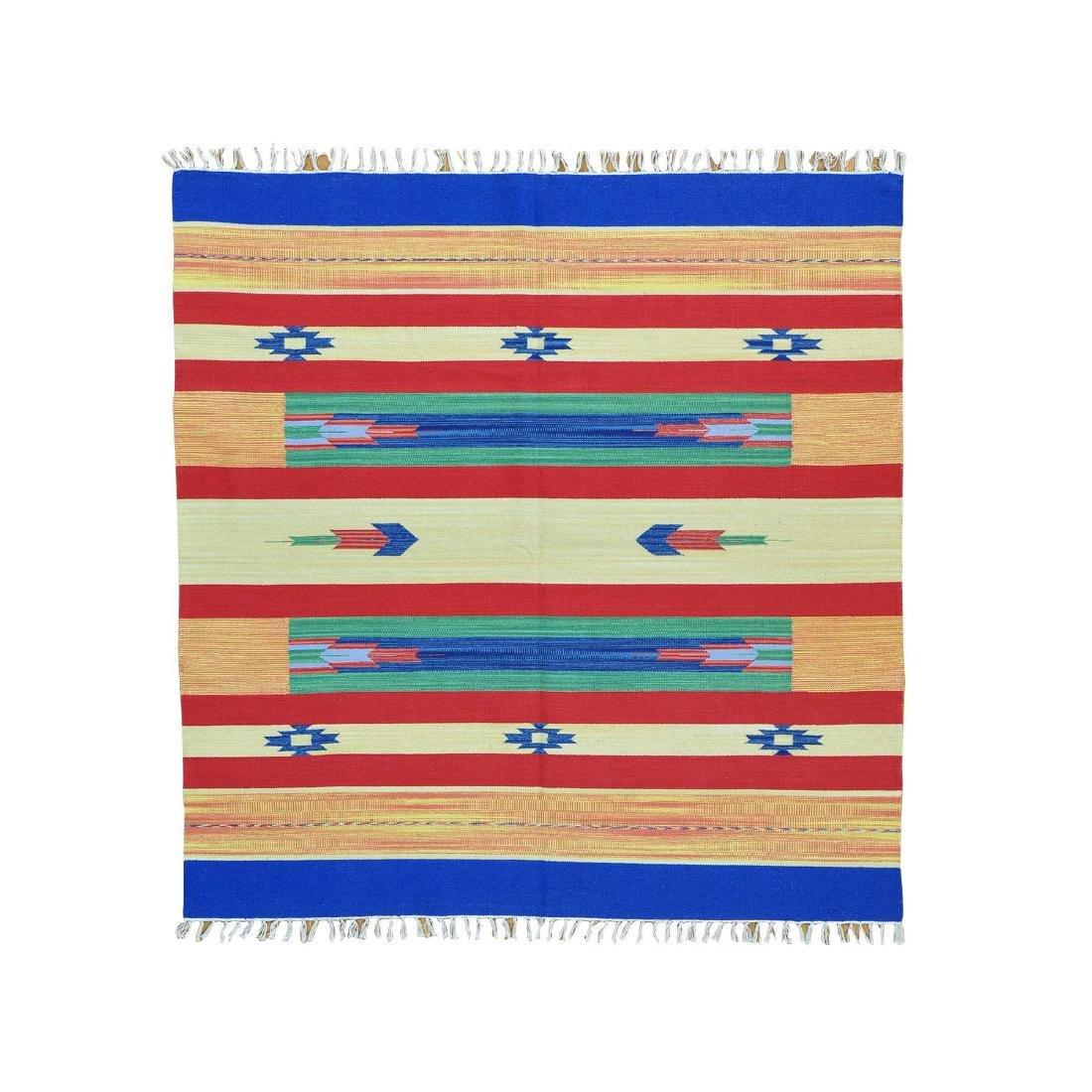 Flat Weave Kilim Hand Woven Navajo Design Rug 6x6.1
