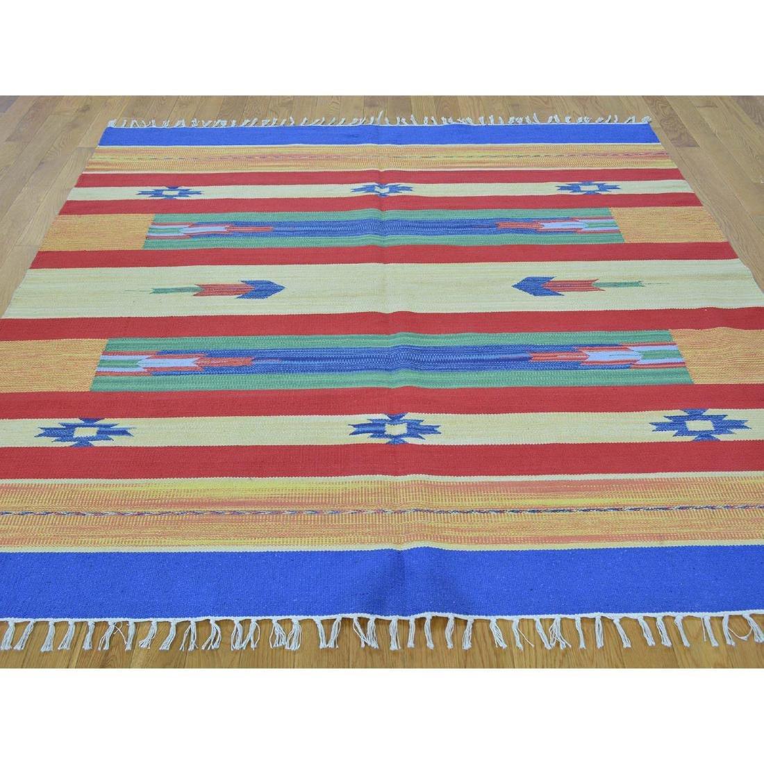 Flat Weave Kilim Hand Woven Navajo Design Rug 6x6.1 - 2