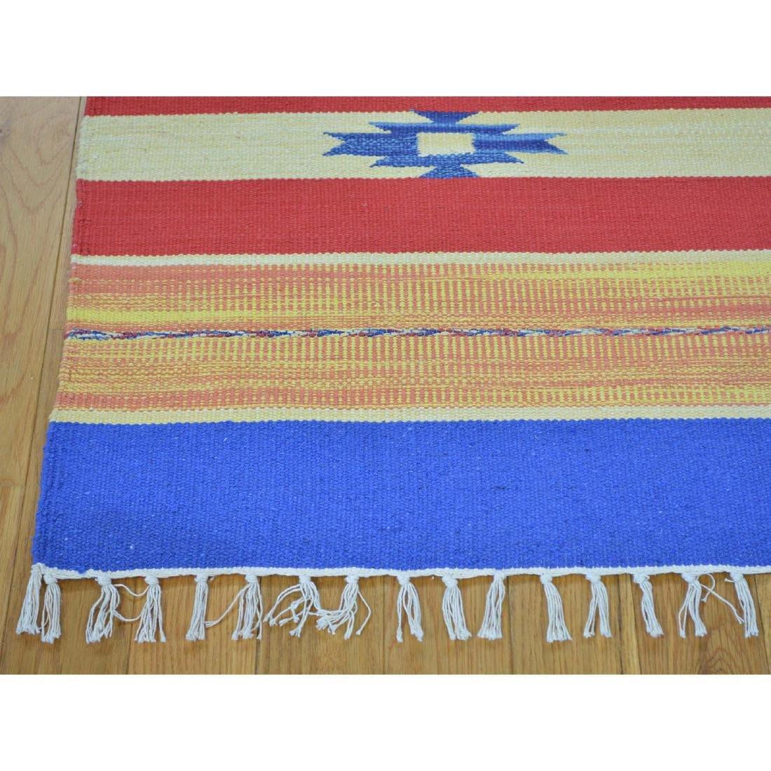 Flat Weave Kilim Hand Woven Navajo Design Rug 6x6.1 - 3