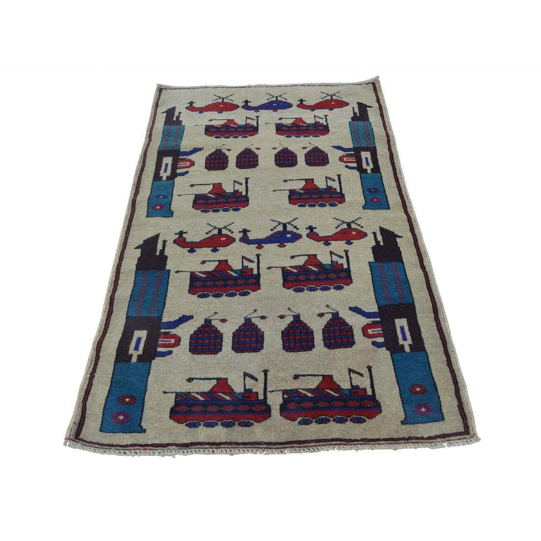 Hand Knotted Afghan Baluch War Tank Grenade Rug 2.9x4.6