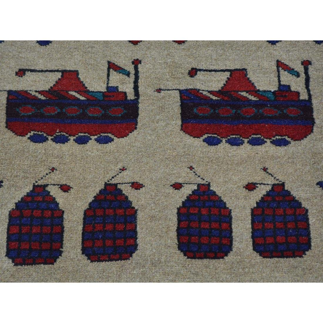 Hand Knotted Afghan Baluch War Tank Grenade Rug 2.9x4.6 - 4