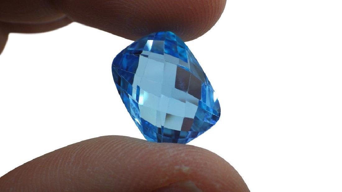 17 ct Genuine 16 x 12 mm Cushion-Checkerboard Cut Sky - 4
