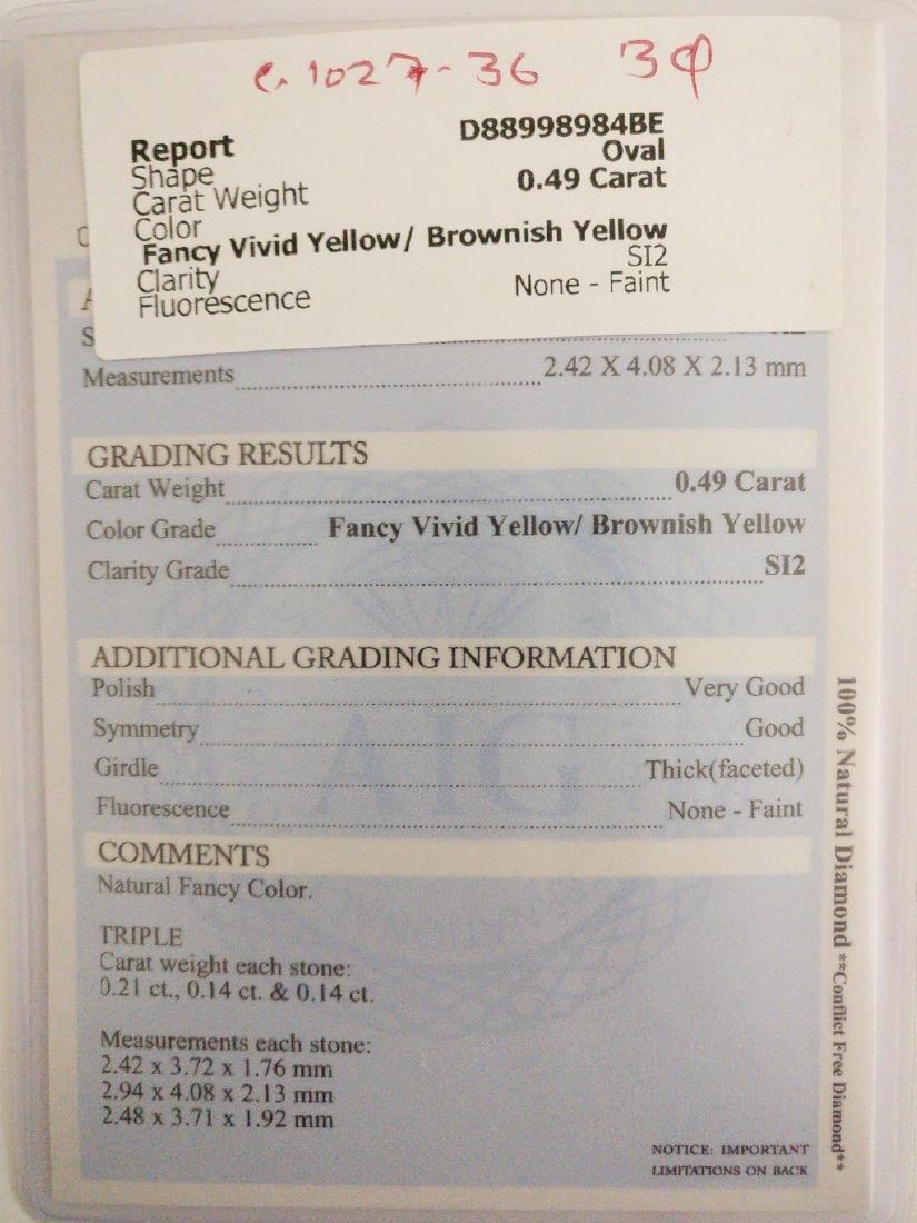 0.49 ct Oval cut diamond F.Vivid Yellow / Brownish - 4