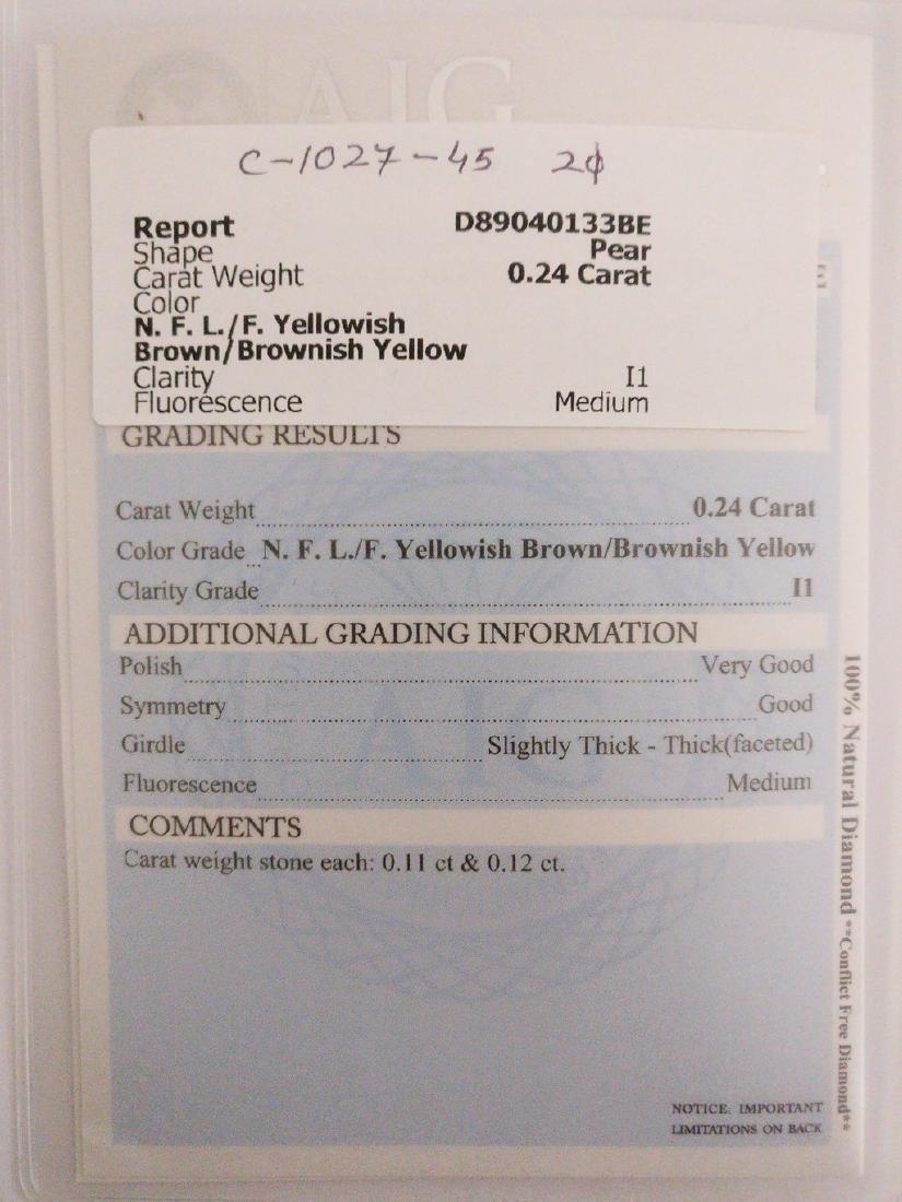 0.24 ct Pear cut diamond F.L. / F. Yellowish Brown / - 3