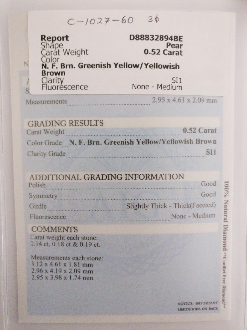0.52 ct Pear cut diamond F.Brn.Greenish Yellow / - 4