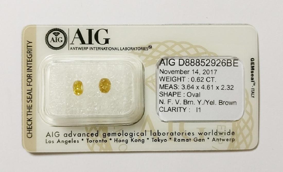 0.62 ct Oval cut diamond F.V.Brownish Yellow /