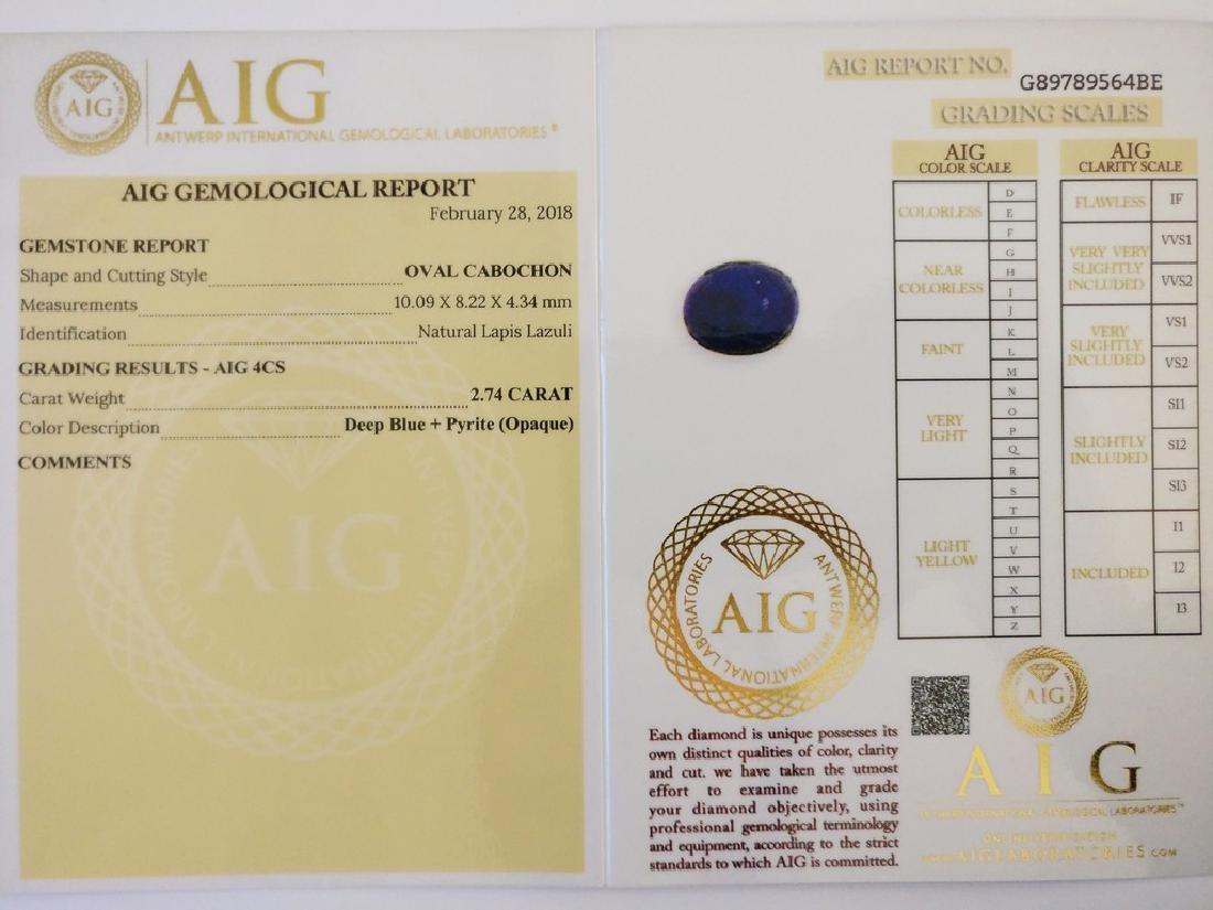 Lapis Lazuli Deep Blue + Pyrite Opaque 2.74 ct - 3