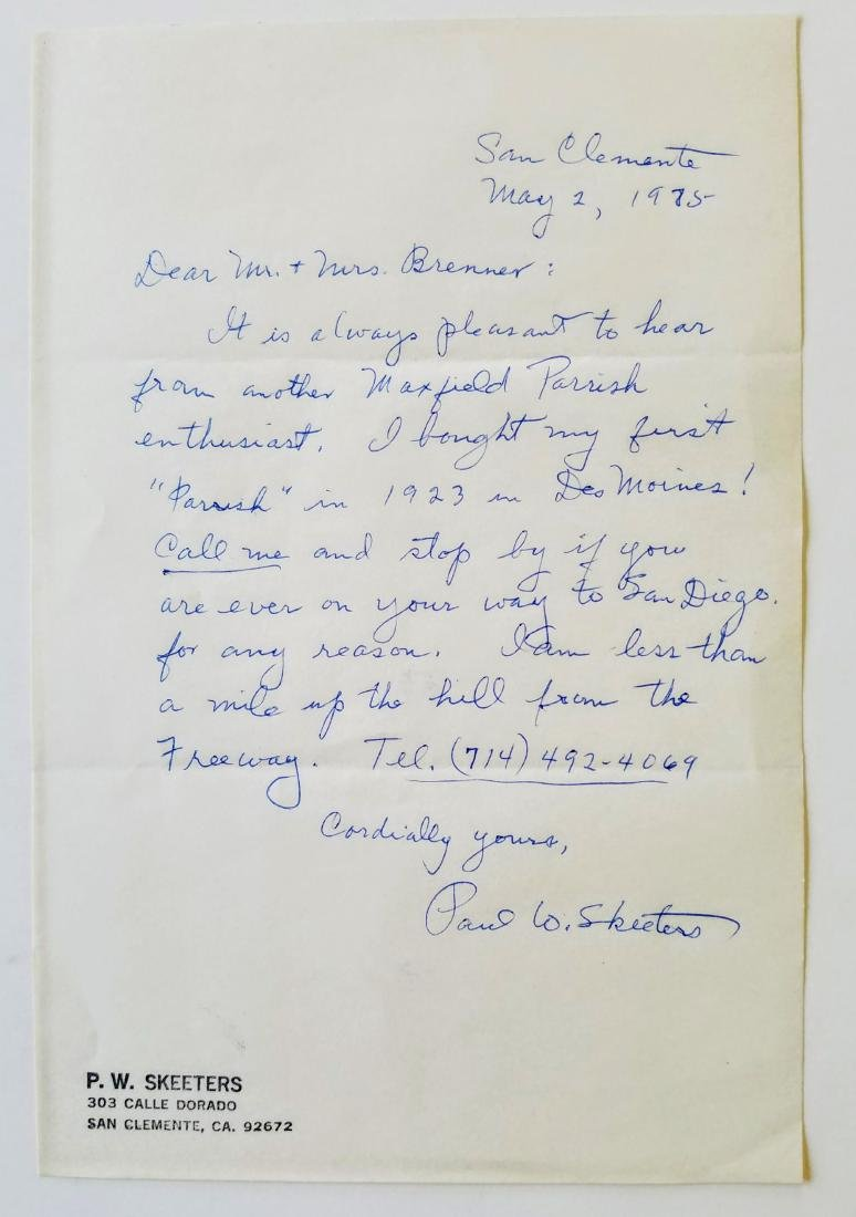 Signed Letter & Label Maxfield Parrish The Early Years - 2