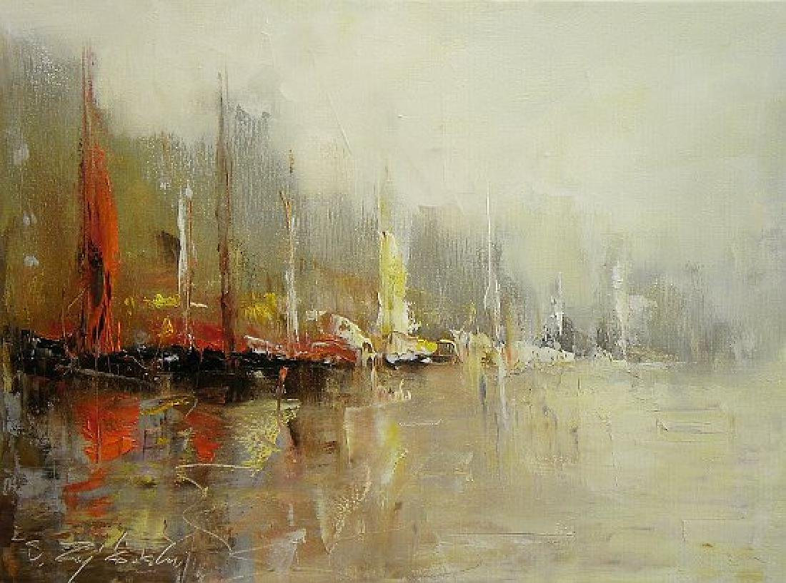 Sławomir Zajkowski Harbour Oil on Canvas
