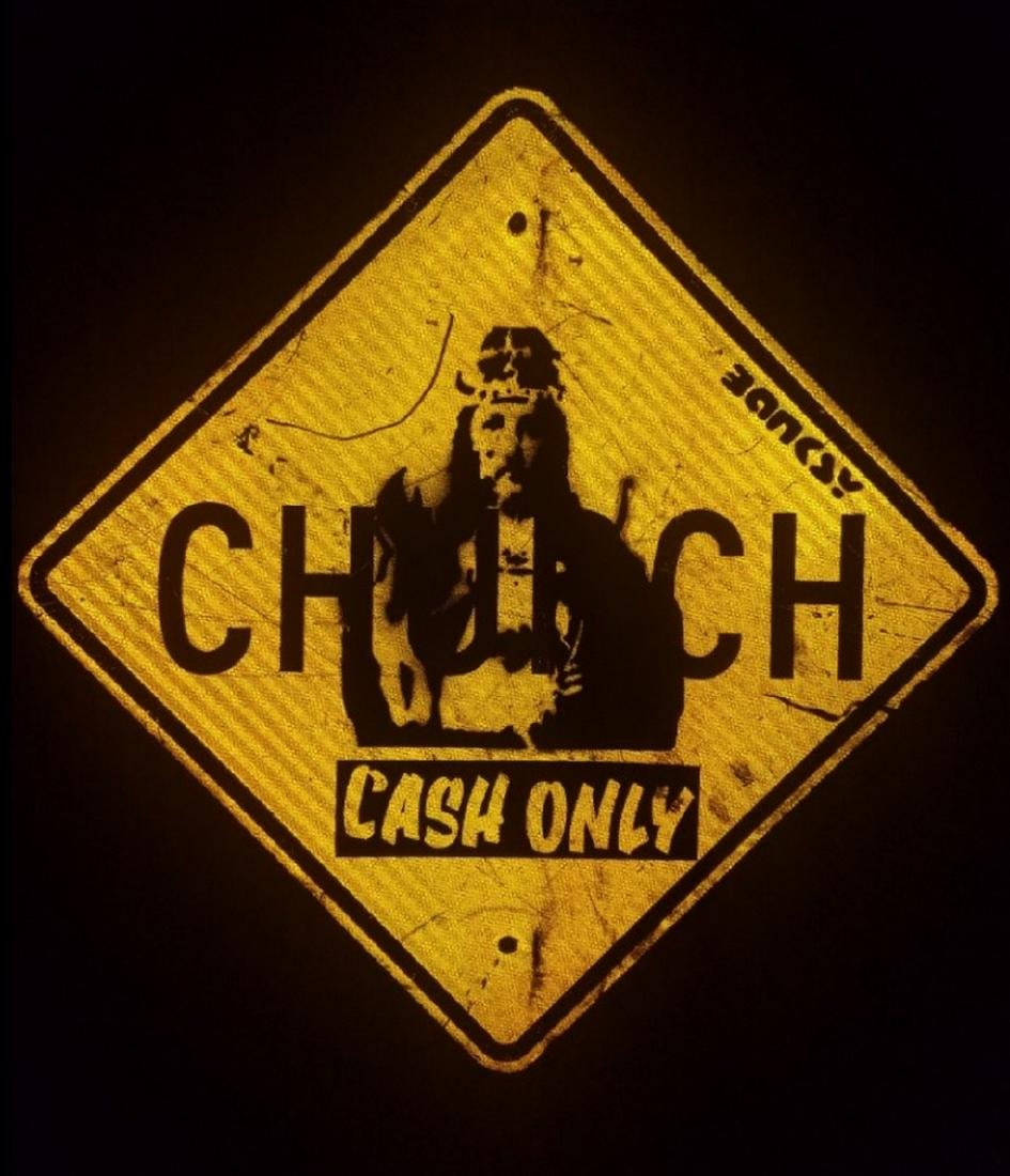 BANKSY street art, on CHURCH Sign Traffic, CASH ONLY