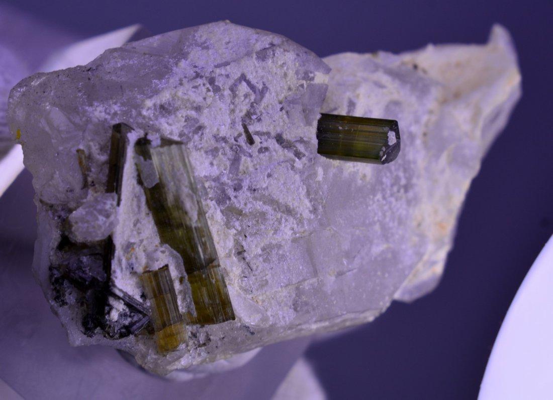 Green Tourmaline With Quartz Combine Specimen - 4